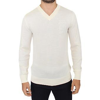 Ermanno Scervino Off White Wool Blend V-Neck Pullover Sweater
