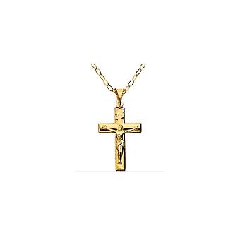 "Eternity 9ct Gold Crucifix Pendentif & 16"" Trace Chain"