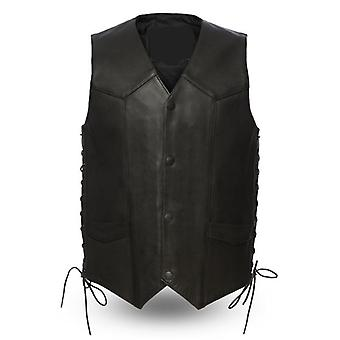 Mkl - clause men's motorcycle western style leather vest