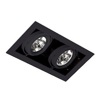 Faro GINGKO-2 - Verzonken Downlight Plafondlamp Zwart, QR-111
