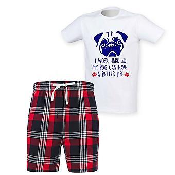 Herre jeg arbejder hårdt, så min pug kan få et bedre liv Tartan kort pyjamas sæt