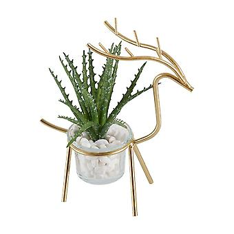Nordic style  multi use iron elk flower pot planter and candle holder.