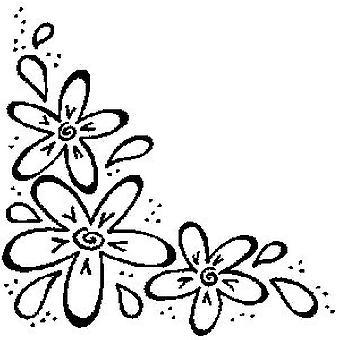 Three Flower Corner Wood Mounted Stamp