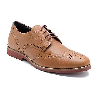 Red Tape Brickhill Tan Honey Milled Leather Formal Mens Brogues