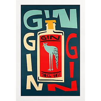 JUNIQE Print - Gin Gin Gin - Cocktails Poster in Rood