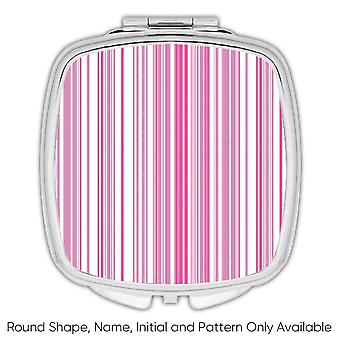 Gift Compact Mirror: Stripes Pink Modern
