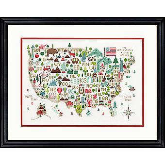 Mått räknade cross stitch kit: Illustrerad USA