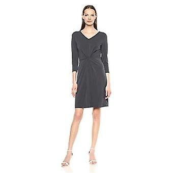 Brand - Lark & Ro Women's Crepe Knit Three Quarter Sleeve Center Twist Dress