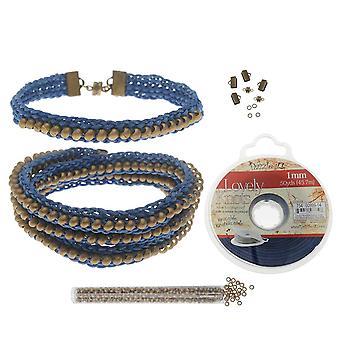 Täyttö - Helmikoristeinen litteä Kumihimo rannekoru setti - Sininen /Antiikki messinki - Exclusive Beadaholique Jewelry Kit