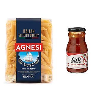 Pasta Kit Met 2 Producten, Tomaat & Chili Saus, Italiaanse Penne Pasta