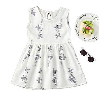 Printed Flower Sleeveless 1-7 Years Children Dresses For Girls