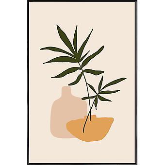 JUNIQE Print - Vaser - Blade og planter Plakat i brun og creme hvid