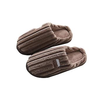Coffee 42-43 thick warm solid comfortable soft plush couple slippers-male homi3351