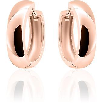 Gisser Jewels - Örhängen - Örhängen - Halv sfär slät med gångjärn - 5mm Bred - 22mmØ - Rose guldpläterad Silver 925