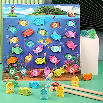 Preschool Wooden Toys Magnetic Fishing Game Baby Puzzle Teaching Aids Early Educational Toys