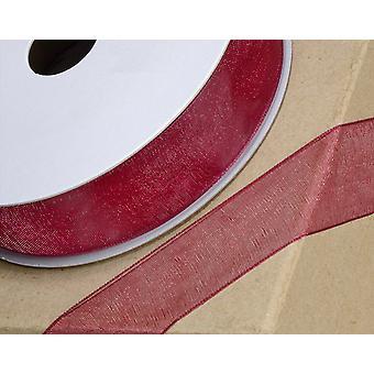 25m Borgoña 6mm Wide Woven Edge Organza Cinta para Artesanía