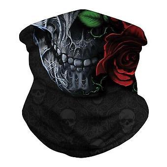 (Rose Skull) Multi use Balaclava Face Mask Cycling Neck Tube Scarf Snood Warmer Headband