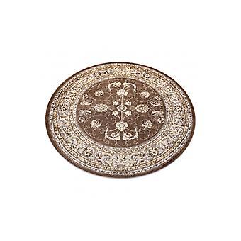 Современный ковер MEFE круг 2312 Орнамент, рама - структурный двухуровневый флисовый темно-бежевый