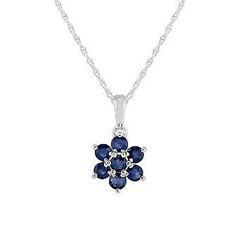 Collar colgante de racimo de zafiro redondo redondo floral en 925 plata de ley 270P016906925