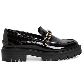 Tamaris Women's Moccasin Glossy Black With Gold Chain