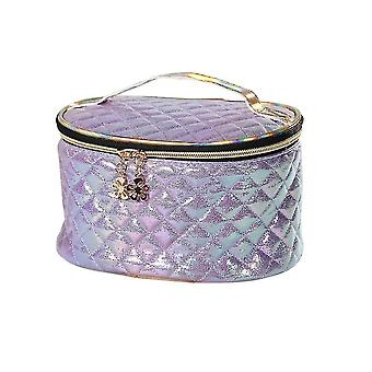 Cosmetic toiletry bags light weight and portable oval makeup bag 21x15.5X12.3Cm purple