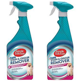 2 x 750ml Haustier Flecken- und Geruchsentferner Spray mit Pro-Bakterien Reinigungskraft | Frühlingsbrise