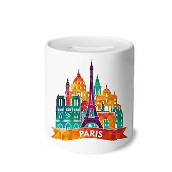 قلعة باريس برج ايفل طباعة بنك الخنزير السيراميك
