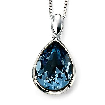 925 Silver Swarovski Crystal Blue And Plated Rhodium Necklace