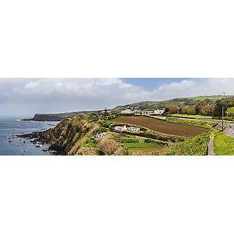 View of farmland along coast Terceira Island Azores Portugal Poster Print by Panoramic Images
