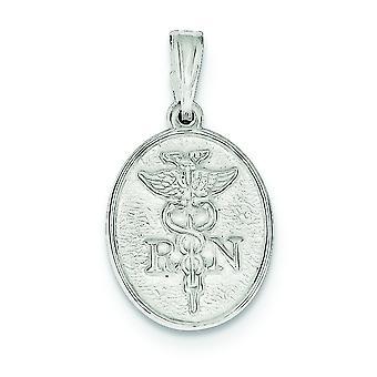 925 Sterling sølv solid polert flat tilbake Engravable RN Charm-2,2 gram