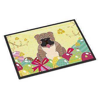 Easter Eggs English Bulldog Grey Brindle  Indoor or Outdoor Mat 24x36