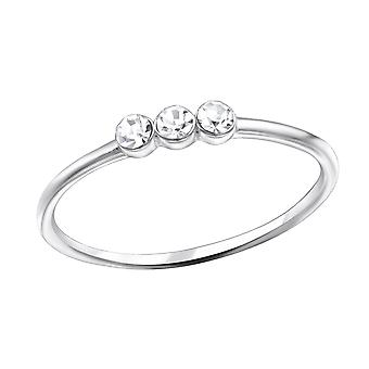 3 Stone - 925 Sterling Silver Jewelled Rings - W30980x