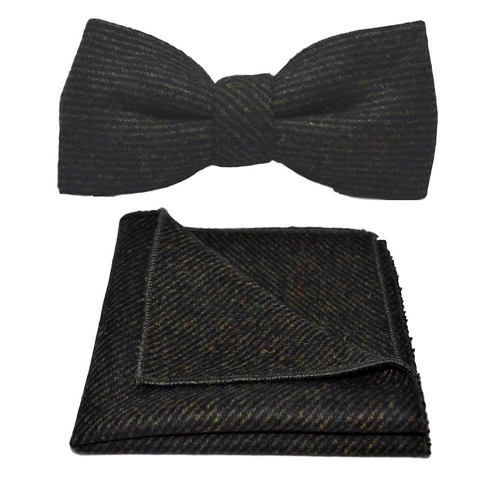 Dark Green Sharkskin Bow Tie & Pocket Square Set