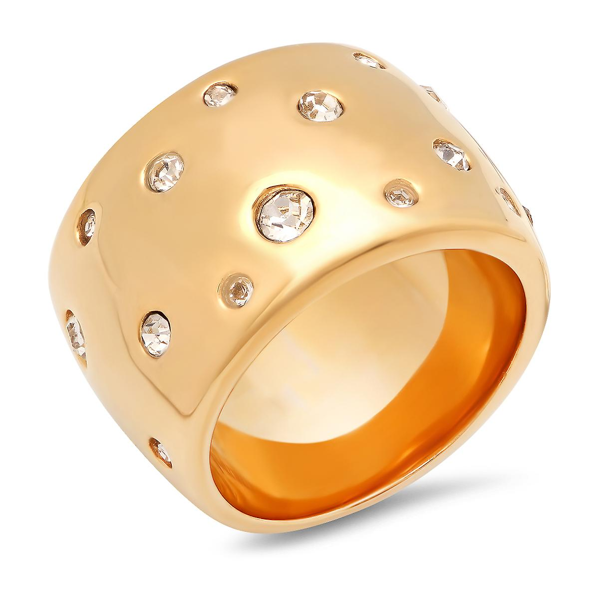 Ladies 18K Gold Plated Stainless Steel Simulated Diamond Dotted Ring