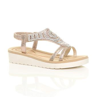 Ajvani naisten alhainen kiila flatform diamante t-bar slingback sandalit