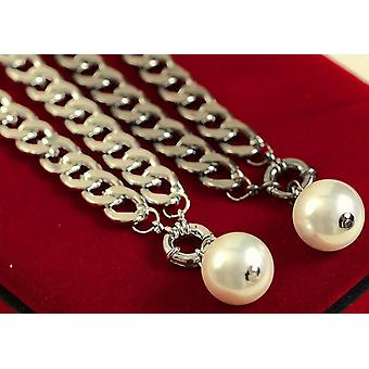 Womens Large Pearl Pendant Necklace Silver Chain BG1013