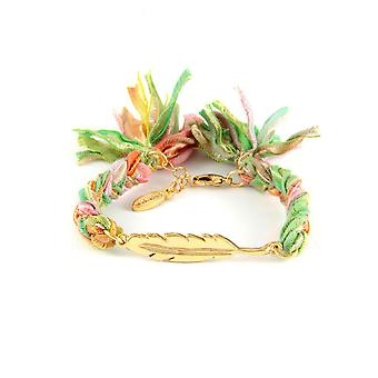 Ettika - Yellow Gold Feather Bracelet and Cotton Ribbons Multicolor 3396