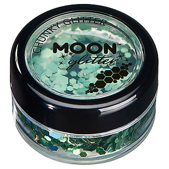 Holographic Chunky Glitter by Moon Glitter – 100% Cosmetic Glitter for Face, Body, Nails, Hair and Lips - 3g - Green