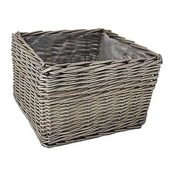 Large Square Antique Wash Wicker Planter