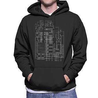 Commodore 64 Computer Schematic Men's Hooded Sweatshirt
