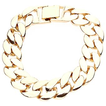 Iced out BOLD solid hip hop bracelet - CURB 15mm gold