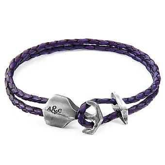 Anchor & Crew Grape Purple Delta Anchor Silver And Braided Leather Bracelet