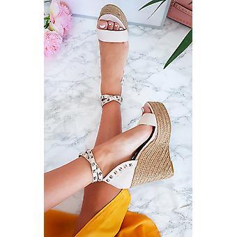 IKRUSH Womens Karlie Studded Embellished Wedged Heels
