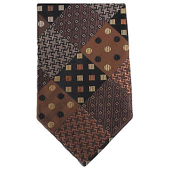 Knightsbridge Neckwear Multi motif Tie - Brown