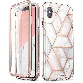 iPhone Xs Case, (Built-in Screen Protector] [Cosmo] Full-Body Glitter Bumper Case 2018 Release (Marble)