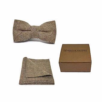 Luxe visgraat bruin Tweed mannen strikje & zak plein Set | Boxed