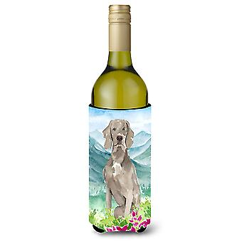 Mountian Flowers Weimaraner Wine Bottle Beverage Insulator Hugger
