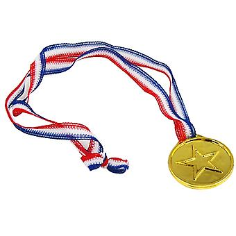TRIXES 12 Plastic Gold Winners Medals - Sports Day/Olympic Theme/Awards