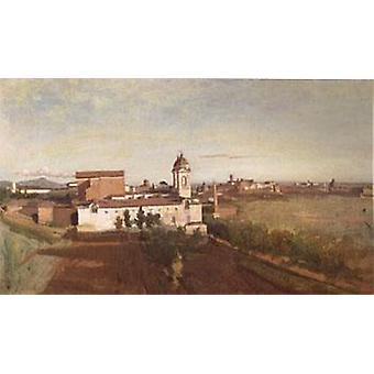 A Igreja de Trinita Dei, Jean Baptiste Camille Corot, 45x74cm