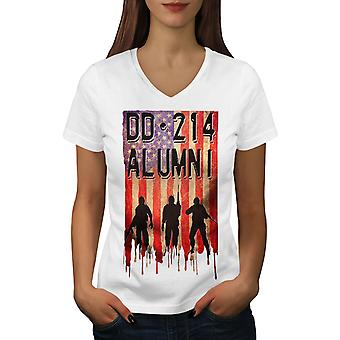 DD214 Alumni Women WhiteV-Neck T-shirt | Wellcoda